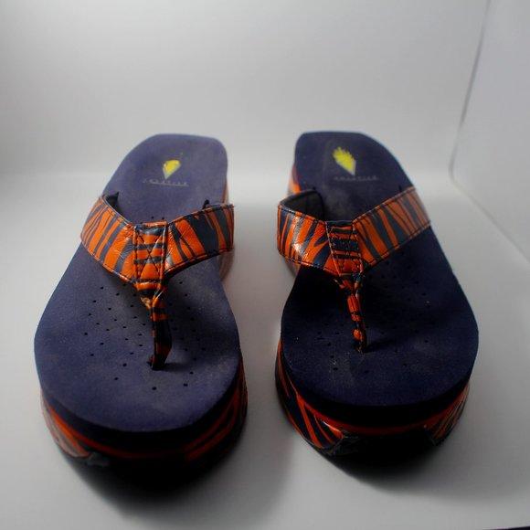 Volatile Auburn Orange & Navy Blue Tiger Stripes Wedge Sandals Sz. 8